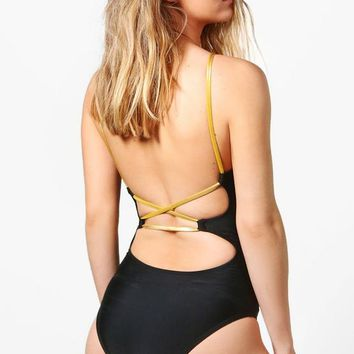 Petite Rosa Strappy Back Swimsuit | Boohoo