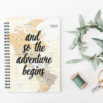 Writing Journal, A5 Spiral Notebook, Lined Notepad, Unique Gift Under 20, Memory Book, Diary, Travel Journal - And So The Adventure Begins