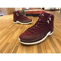"Air Jordan 12 ""Bordeaux"" Wine red Basketball Shoes 40-47"