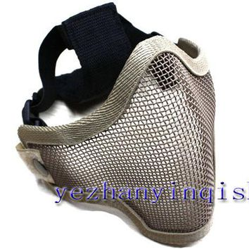 Tactical Hunting Mask Metal Steel Wire Half Face Mesh Airsoft Mask (DE) -Free shipping