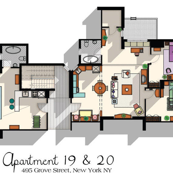 Bedroom Mom Hd Porn: Friends TV Show Apartment Floor Plan- From DrawHouse On Etsy