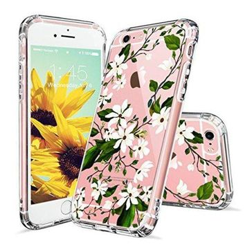 DCCKV2S iPhone 6 Case, iPhone 6s Case Protective, MOSNOVO Floral Magnolia Flower Pattern Clear Design Transparent Plastic Hard Back Case with Soft TPU Bumper Protective Cover for Apple iPhone 6 6s (4.7 Inch)