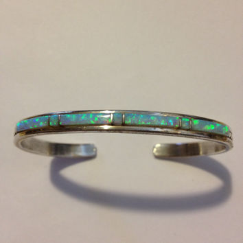 Navajo Opal Sterling Cuff Bracelet Stamped Silver 925 Vintage Jewelry Tribal Southwestern Birthday Mother's Anniversary Holiday Gift