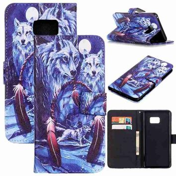 Snowy wolf Feather Painted Pattern Flip Cover Holster PU Leather Wallet Card Slots Stand Protective Drop Resistance Mobile Phone