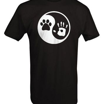 DCCKV2S Paw Hand Print Yin Yang Dog Animal Rescue Adopted Pet Lover T Shirt Men 2017 Summer Round Neck Men'S T-Shirt Top Tee