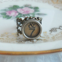 Vintage Typewriter Key Ring Wanderer by theblackstarboutique