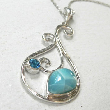Larimar Necklace - Larimar Blue Topaz Pendant - Ocean Blue Winter Blue Larimar Blue Topaz Jewelry - Unique Teardrop Larimar Pendant