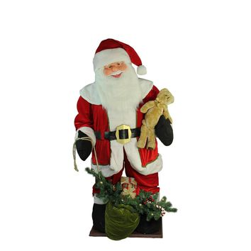 6' Inflatable LED Lighted Musical Santa Claus Christmas Figure with Gift Bag