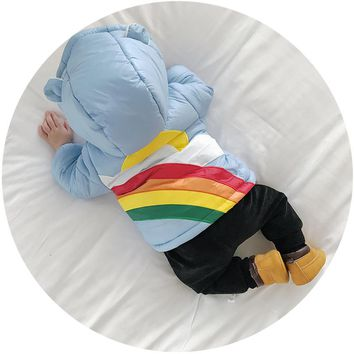 winter infant coat rainbow clouds hooded cotton padded jacket thick warm baby jacket