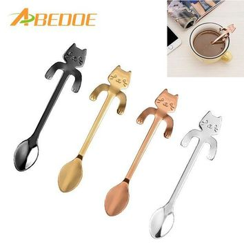 ONETOW ABEDOE 1 pcs Stainless Steel Cat Coffee Spoon Dessertspoon Food Grade ice cream candy teaspoon Kitchen Supplies tableware