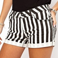 Only Stripe Denim Shorts at asos.com