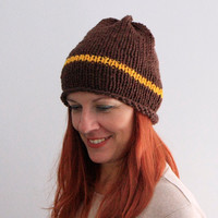 Slouchy beanie hat, hand knit hat, brown yellow beanie, chunky hat, Phedra, ready to ship