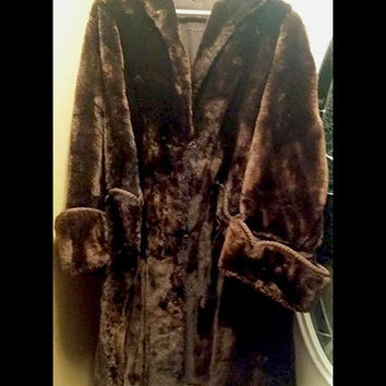 Beaver Fur Jacket Coat Women's Real Genuine Long Dark Brown Vintage Full Length
