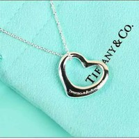 Tiffany fashion ladies pure silver heart necklace high quality
