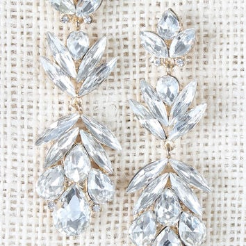 Teardrop Rhinestone Cluster Dangle Earrings