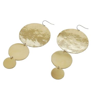 Brass Triple Circled Hammered Earrings