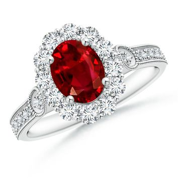 Diamond Border Ruby Ring With Milgrain Detailing