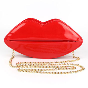 Unique PU Leather Women Handbag Messenger Bag Evening Bags Red Lips Shape Women Handbags Purse Lady Clutch Chain Shouder Bag SN9