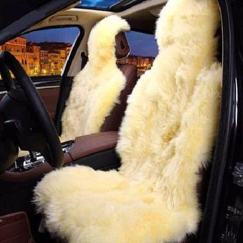 Pure Australian Sheepskin Thick Beige Deluxe Plush Car Seat Cover Set