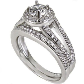 Sterling Silver Wedding Ring Set with Halo CZ Engagement ring and Band size 4-11
