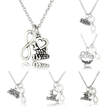 Letter Heart Double Pendant Necklace Shiny Charm Super Mom Sister Love You Husband Wife Fanmily Lover Gifts Fashion