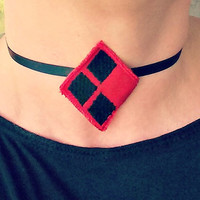 Harley Quinn inspired logo satin tie choker necklace