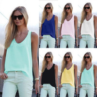 SIMPLE - Popular Fashionable Summer Beach Holiday Chiffon Strap Sleeveless Shirt blouse Top Casual Boho Top Shrit T-shirt b2251