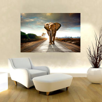 "Canvas Print Artwork Stretched Gallery Wrapped Wall Art Painting Elephant Africa Safari Animal Landscape Large Size 26x39"" (can14)"