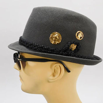 1960's Vintage / Friendly Club Process Hats / Porkpie Hat / Trilby Hat / Mad Men Style / 7-1/8 / English Pins / Gray Felt Fedora / Novelty