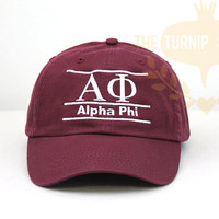 Alpha Phi Sorority Line Design Baseball Cap - Custom Color Hat and Embroidery.