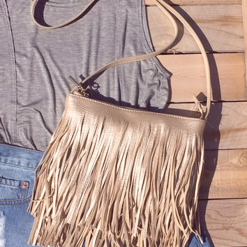 Golden Fringed Crossbody Bag
