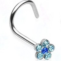 20g Surgical Steel Nose Ring Screw Body Jewelry Piercing with Aqua Gem Flower 20 Gauge Nemesis Body JewelryTM