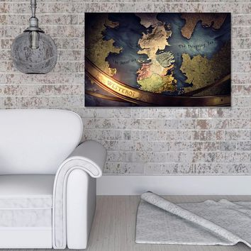 GAME OF THRONES MAP OF WESTEROS Wall Art on Canvas