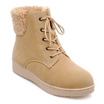 Faux Shearling Lace-Up Suede Snow Boots - Apricot 40