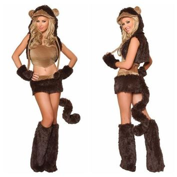DCCKIX3 Naughty Monkey Adult Costume Sexy Women Party Animal Costumes Halloween Cosplay Costumes Cute Carnival Costumes (Color: Brown) = 1945938820