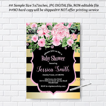 Baby Shower Invitation, Bridal shower, floral watercolor, flower, black and white stripes, gold and black tripes - card 981