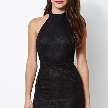 Kendall & Kylie Mock Neck Lace Dress - Womens Dress - Black