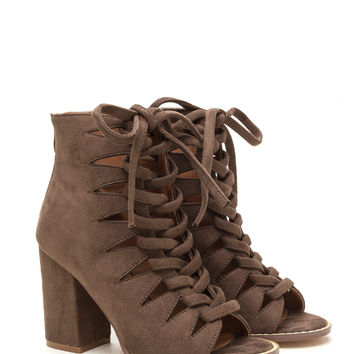 Street Cred Chunky Laced Cut-Out Booties GoJane.com