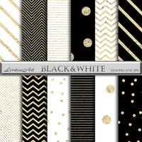 Digital Paper black white Gold Foil confetti Stripes & Chevron digital background for scrapbooking,invites,cards,web design,Instant Download