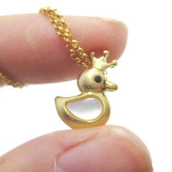 Rubber Ducky Shaped Pearl Pendant Necklace in Gold | DOTOLY