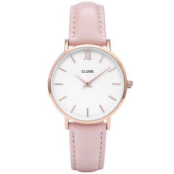 Cluse - Ladies' Minuit Rose Gold White/Pink Watch CL30001