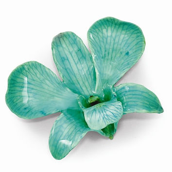 Lacquer Dipped Teal Dendrobium Orchid Pin