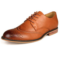 Quality Tan Round Toe Lace Up PU Leather Dress Shoes for Man