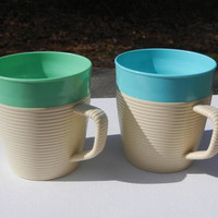 Raffiaware Cups, Vintage Mugs Set of 2 by Mallory Randall Corp. Made in USA - Excellent Condition (1960s)