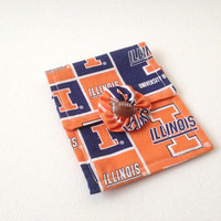 University of Il, Illinois, Mini Purse, Cosmetic Bag, Hand Made, Orange Purse, Illini Team Logo