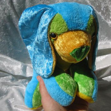 Happy Holidays Spaniel CUDDLY PUPPY - blue turquoise green yellow - Toy Dog soft stuffed plush Animal - handmade ooak tallhappycolors