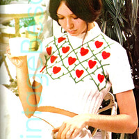 HEART CROP TOP 1970s Vintage Knitting Pattern - sexy vixen hearts vines Ladylike while still being a Vixen