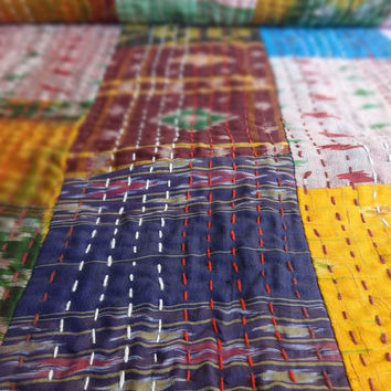 Handmade Silk Sari Bedspread, Patchwork Kantha Bedding, Reversible Bohemian Throw, Twin Size Bed Cover, Printed Kantha Quilt, Multi Color