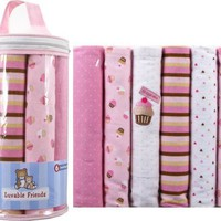 Luvable Friends 6-Pack Flannel Receiving Blankets, Pink $11.63