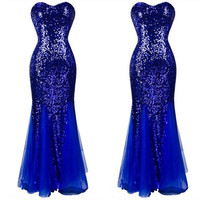 Sequins Prom Dresses Sleeveless Tulle Formal Evening Party Cocktail Ball Gown = 1932754884